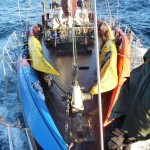 Sea Kayaks aboard Elwing heading south to Pt Pegasus